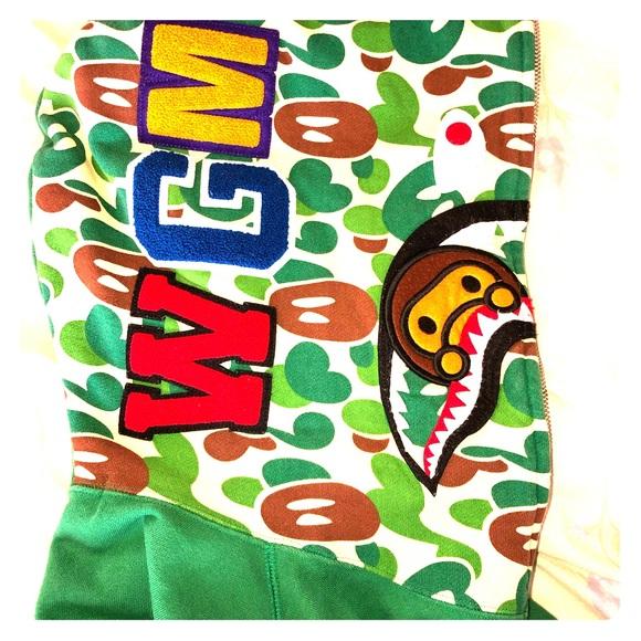 1c72f8a066 Bape Shirts   Rare Apple Green Shark Hoodie   Poshmark